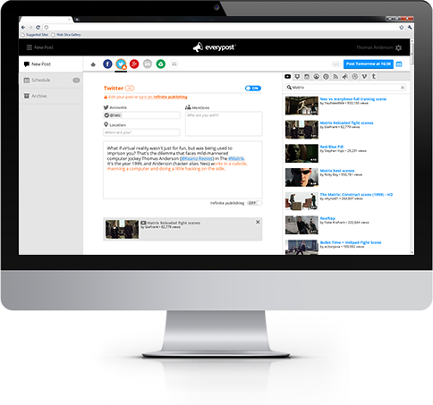 EveryPost is strictly a social media scheduling tool with support for Twitter and Facebook.