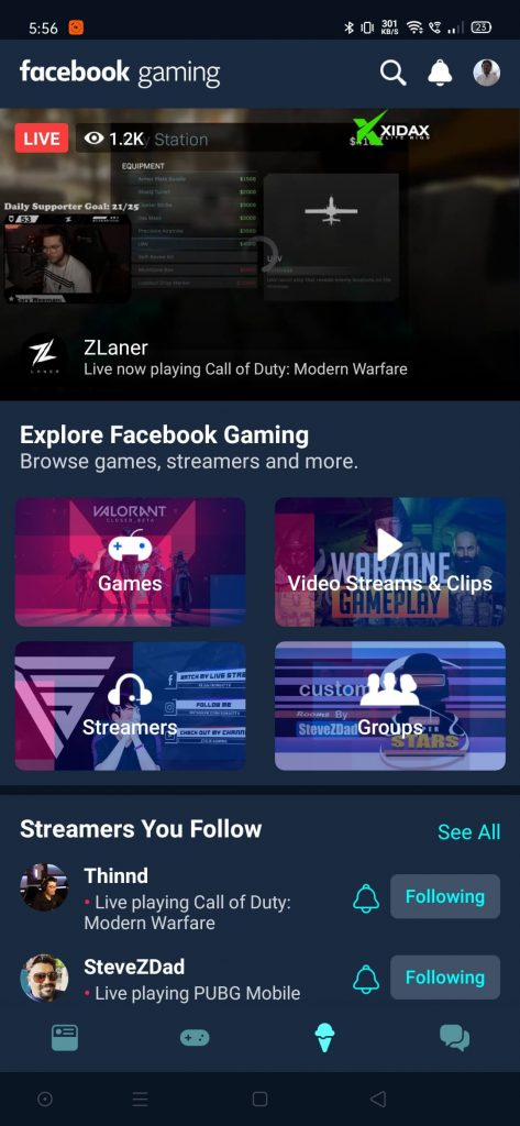 facebook gaming feed