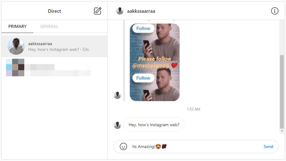 Instagram web messaging interface