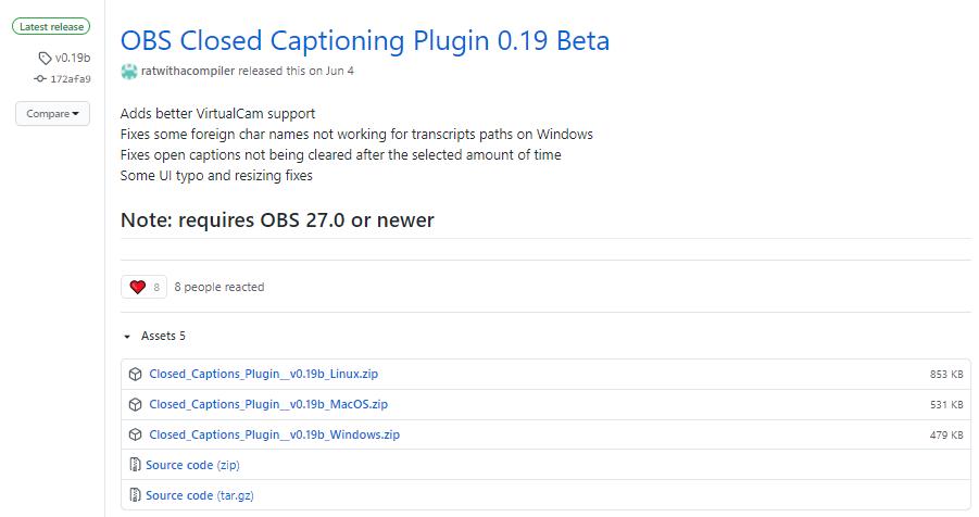 OBS Close Captioning beta