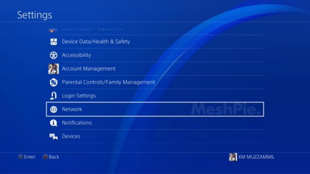 PS4 internet settings