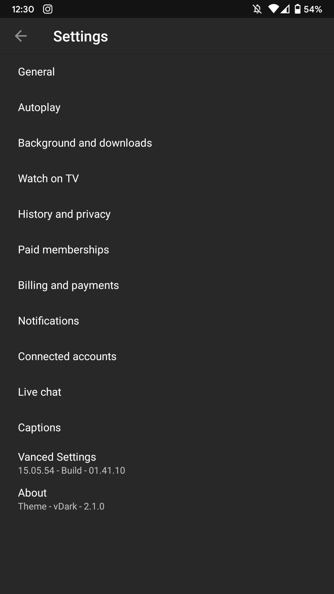 YouTube Vanced Settings