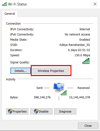 Click the wireless properties to know your WiFi password