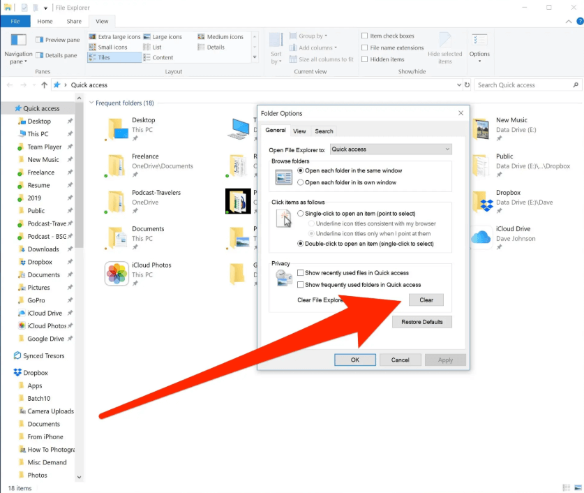click the options menu, there select folders and change options and click on the clear icon