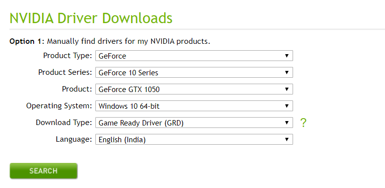 Select your graphics card model and download the latest version