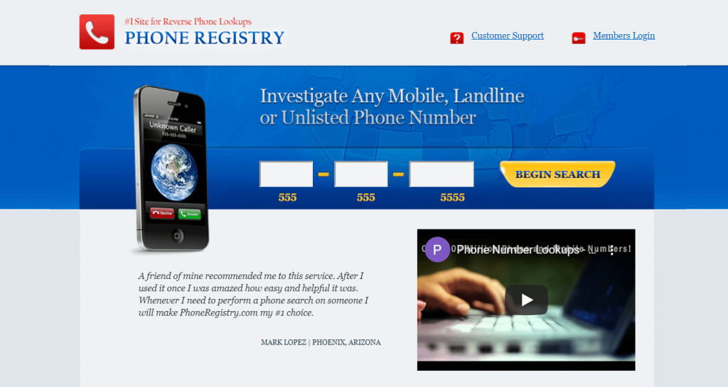 Phone registry is one of the best reverse phone lookup application.