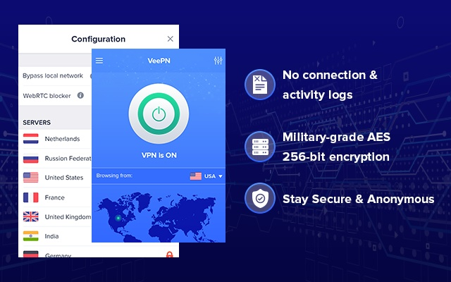 VeePN is one of the free VPN extensions for Chrome