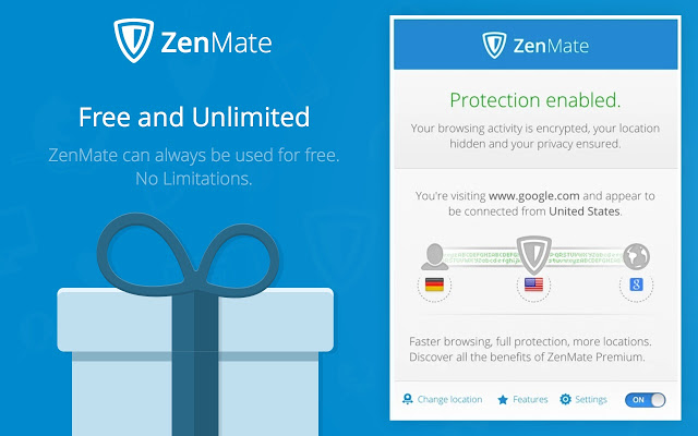 ZenMate is one of the free VPN extensions for Chrome