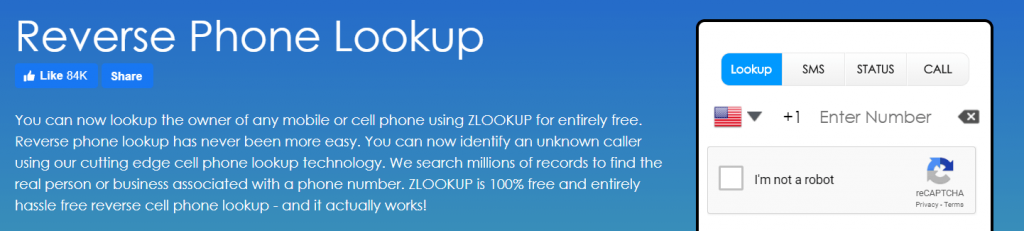 Zlookup is one of the best reverse phone lookup application.