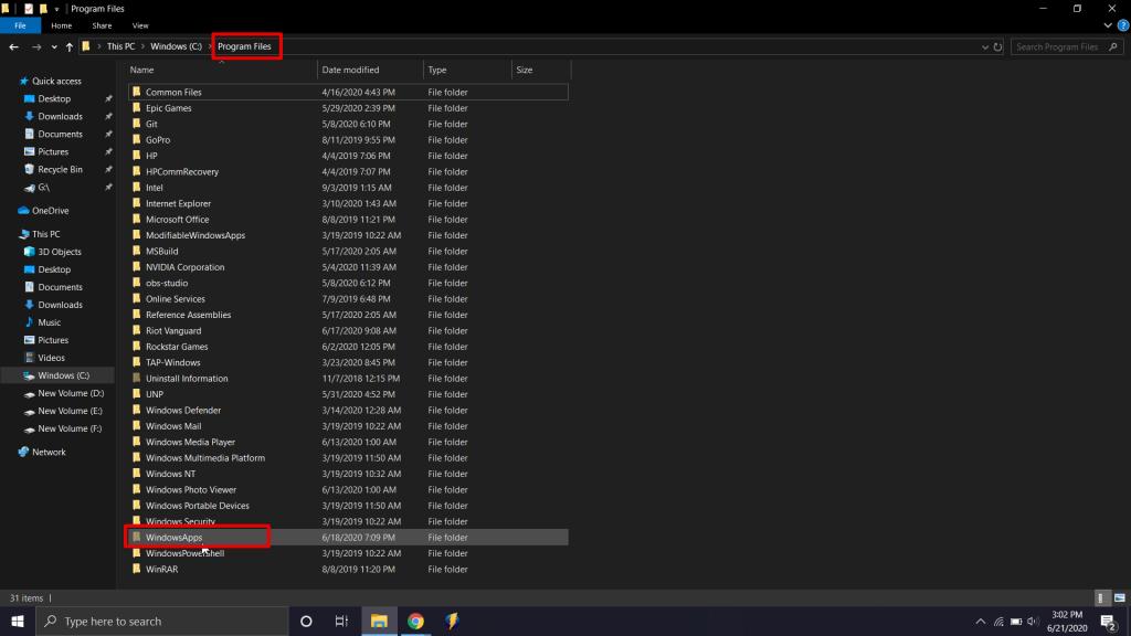 WindowsApps folder will be located in the program files folder.