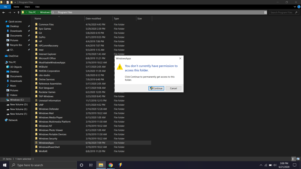 without proper permission you will not be able to access the WindowsApps folder