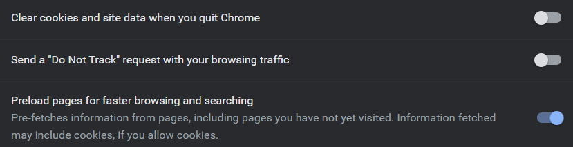 Select Preload pages for making Chrome faster and secure.