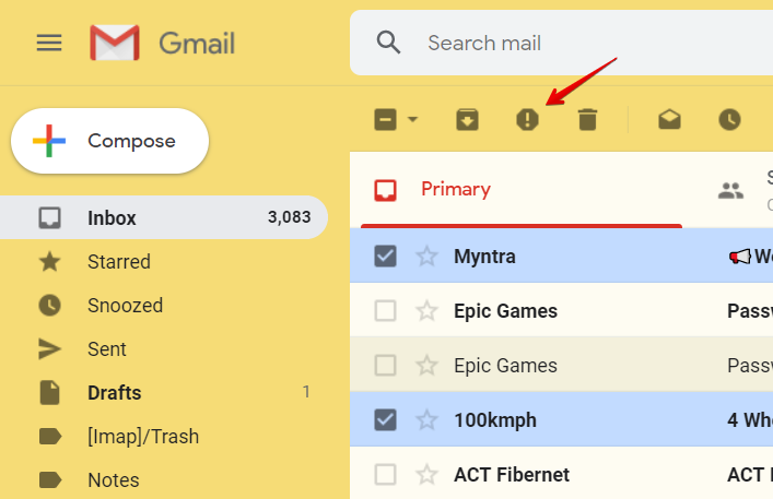 image showing how to mark an email as spam in Gmail.