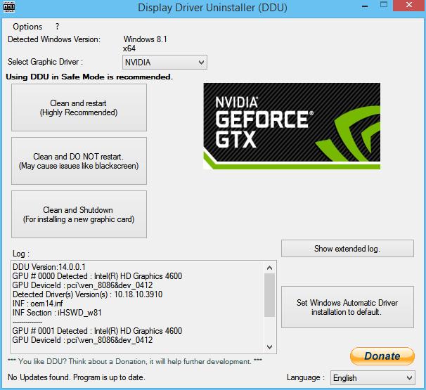Image showing Display Driver Uninstaller software