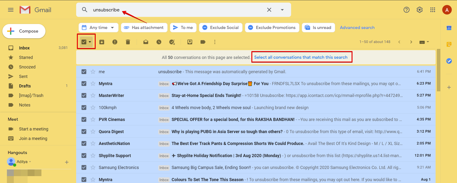 Image showing how to delete all spam emails.