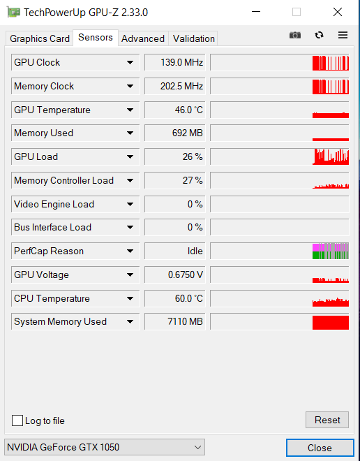 image showing the temperature of the GPU and various other levels.