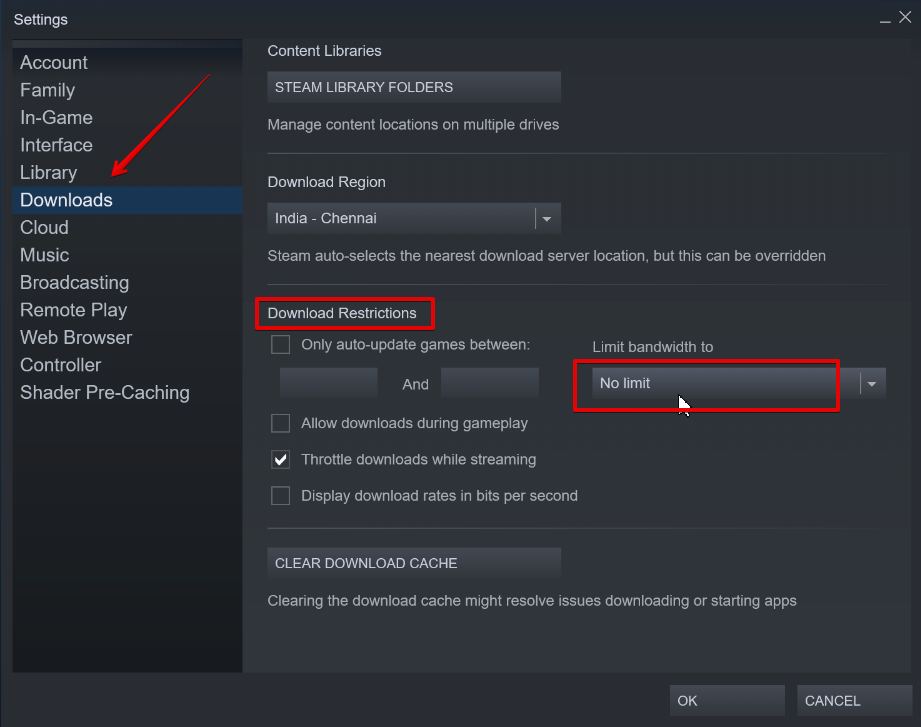 Steam download bandwidth limit