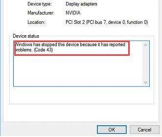 Image showing system having error code 43