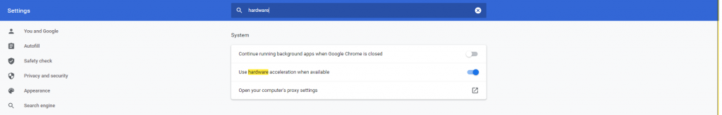 Hardware acceleration google chrome