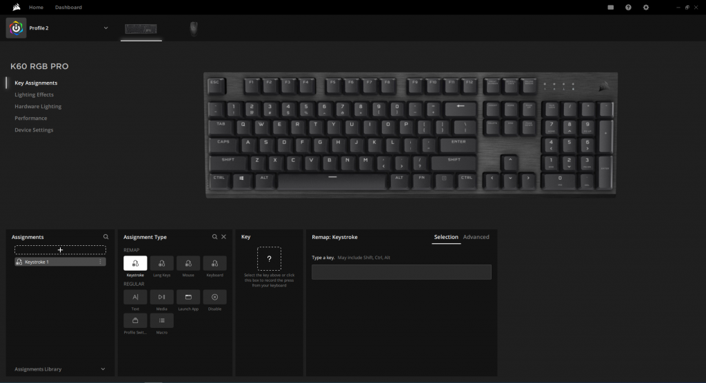 Corsair K60 RGB Pro key assignment settings