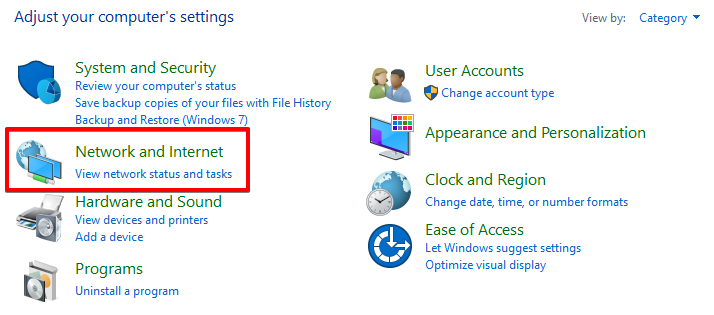 network and internet settings